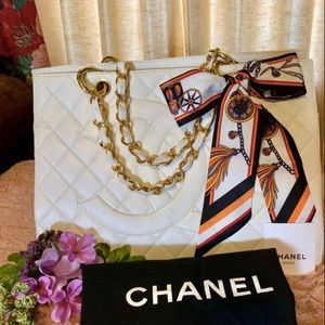 CHANEL Timeless GST White Caviar Leather Tote Bag